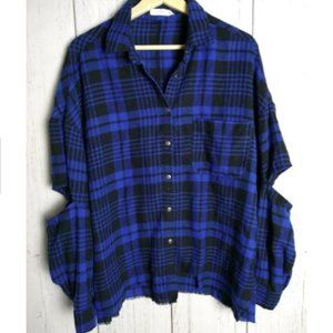 Lush Snap Button Plaid Shirt Open Elbow XL